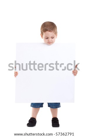 Young boy lifting his head out of the blank board on isolated background