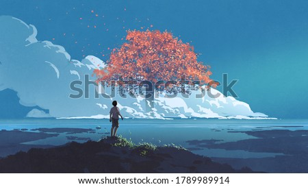 young boy looking at the giant autumn tree at the horizon, digital art style, illustration painting