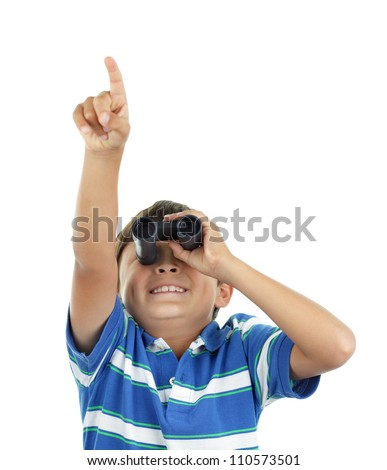 Young boy looks up through binoculars wearing blue striped shirt - on white background - landscape