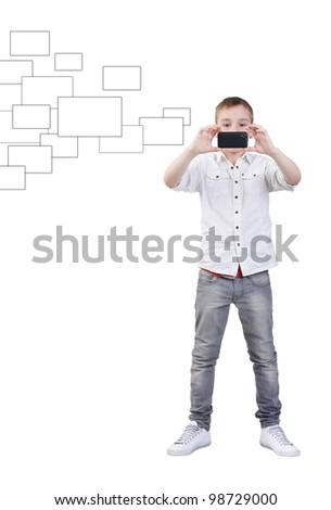 Young boy making photos with mobile device, isolated on white, clipping path