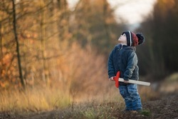Young boy playing outdoor with wooden sword. Autumnal landscape and young boy.