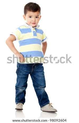 Young boy posing - isolated over a white background