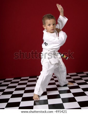 Young boy practicing martial arts