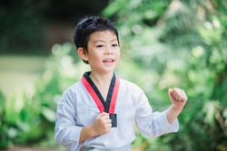 Young boy practicing martial arts by taekwondo outside in park