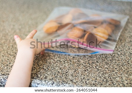 Young boy reaching for a snickerdoodle cookie in his kitchen. Photo taken in a home in Reno, Nevada, USA using natural window light.