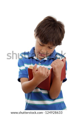 Young boy reading a book - portrait mode - on white isolated background - with copy space