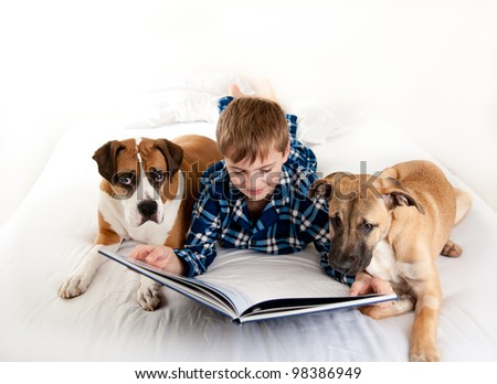 Young Boy Reading Book to His Dogs