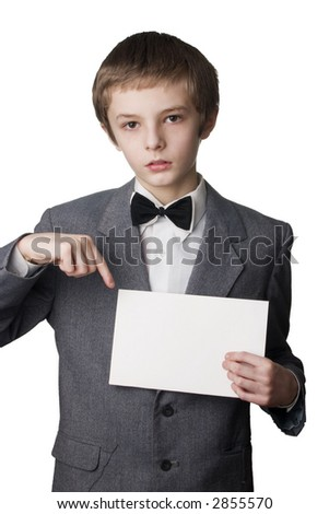 Young boy signing on blank card. Very useful place for the text  inserting
