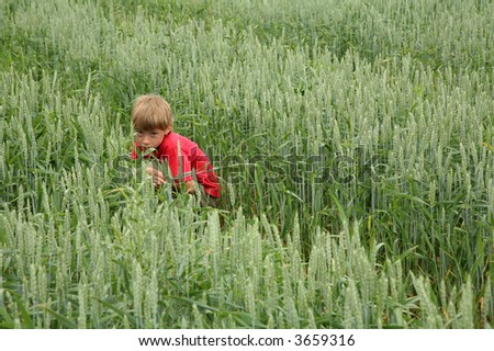 young boy sitting alone in field with scared expression