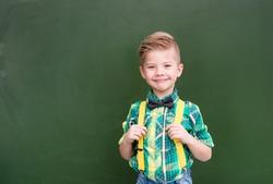 Young boy standing near empty green chalkboard.