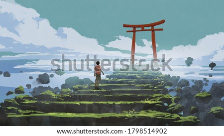 young boy walking up the stairs to the Torii gate, digital art style, illustration painting