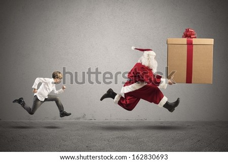 Young boy wants a present from Santa Claus
