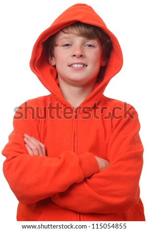 Young boy wearing an orange hoodie on white background