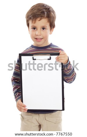 Young boy with clipboard over white background