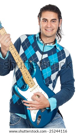 young boy with electrical guitar a over white background