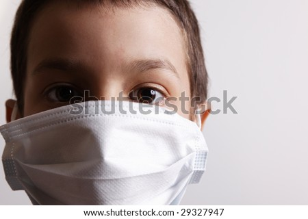 Boy with health mask for is protection again virus white background