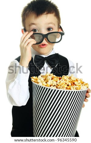 Young boy with popcorn and HD glasses isolated on white background - stock photo