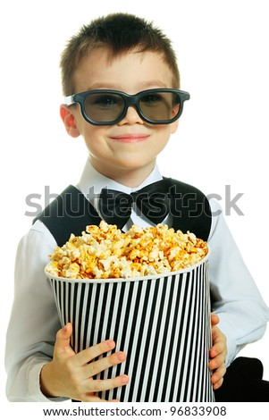 Young boy with popcorn and HD glasses isolated on white background