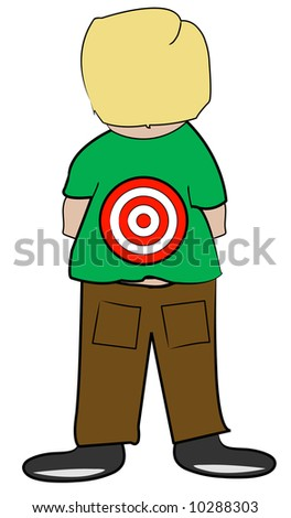 young boy with target on his back - bullying