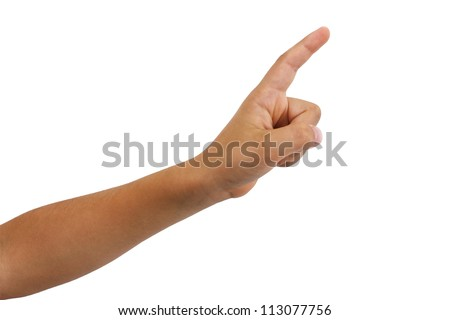 Young boys arm and hand isolated with a finger extended as though to say on moment please. Could also be a pointing finger.