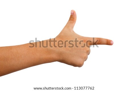 Young boys arm with fingers extended into a finger gun or pistol.