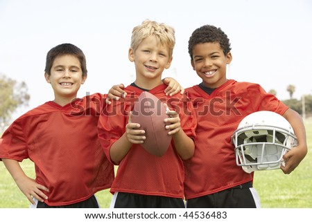 Young Boys In American Football Team