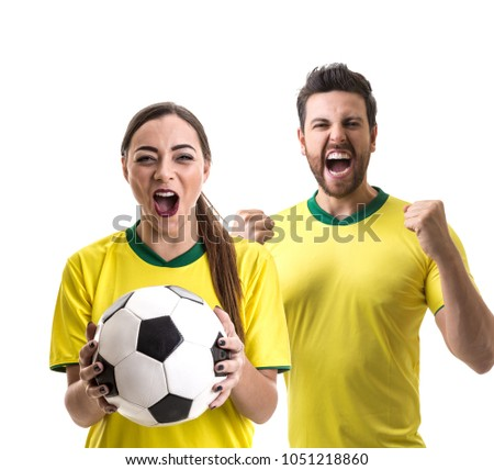 Young Brazilian couple fan celebrating #1051218860