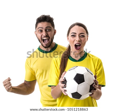Young Brazilian couple fan celebrating #1051218863