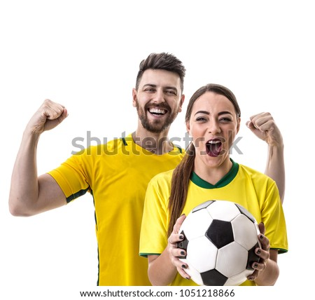 Young Brazilian couple fan celebrating #1051218866