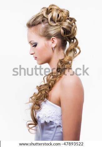 Young bride with beauty wedding hairstyle, profile - isolated on white