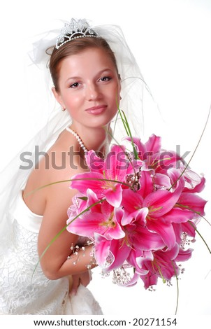 young bride with bouquet of lilys on a white background