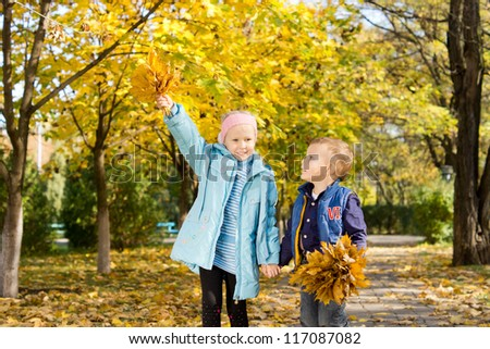 Young brother and sister holding hands and exploring beautiful autumn woods