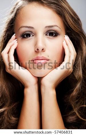 young brunette beauty  woman portrait, studio shot