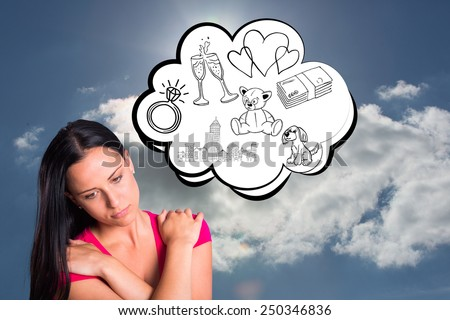Young brunette with sad facial expression against blue sky with clouds and sun