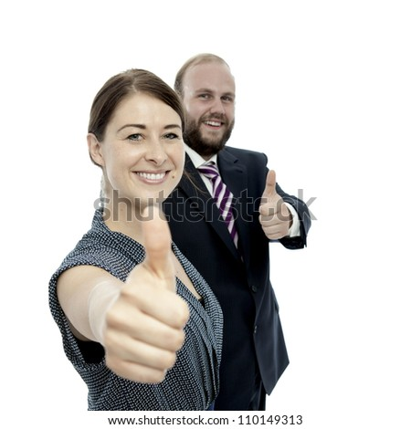 young brunette woman and beard business man thumbs up