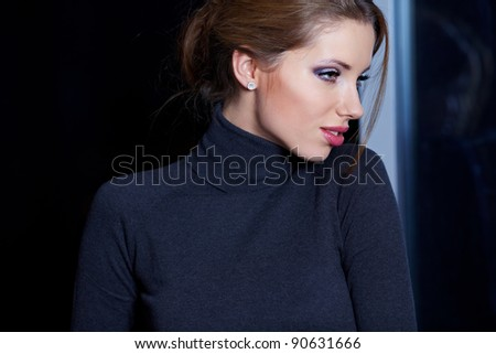 young brunette woman beauty portrait