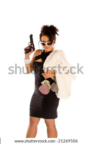 Young brunette woman dressed to kill in a black mini dress and a white fur coat. Carrying two small purses overflowing with cash and a handgun