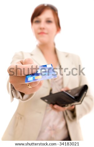 Young brunette woman paying for shopping