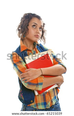 Young brunette woman (student) with books - looking up