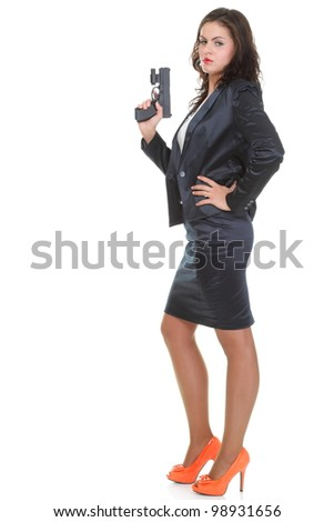 Young brunette woman with gun isolated on white full lengh