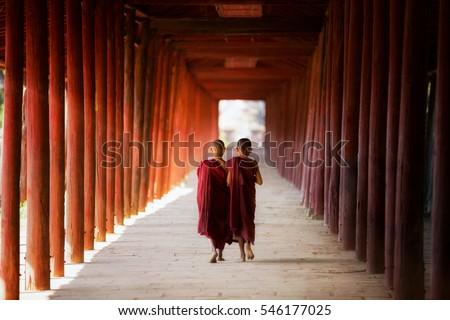 Young Buddhist monk, novic,  walking and reading in pagoda in Shin Bin Maha Laba Man Temple, Sa lay,Bagan, near Mandalay city, Myanmar.