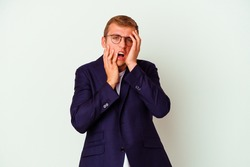 Young business caucasian man isolated on white background whining and crying disconsolately.