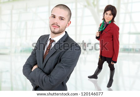 young business couple at the office