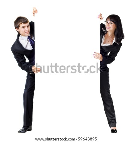 young business couple holding empty advert sign