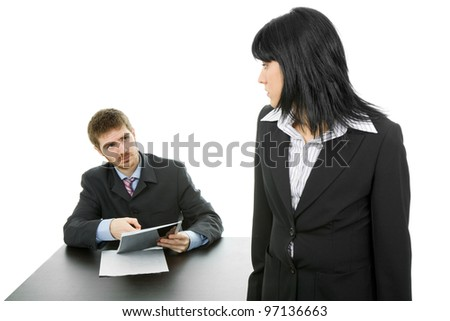 young business couple working, isolated, focus on the man