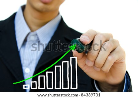 Young business hand drawing showing graph.