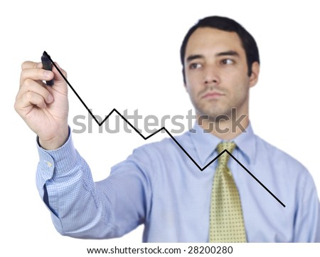 Young business man drawing a chart line on the screen.