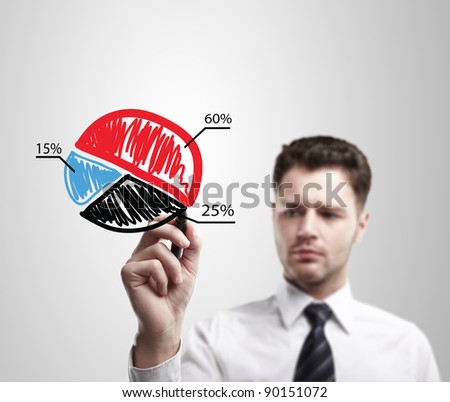 Young business man drawing a colorful pie chart graph with percentages on a glass window in an office - focus is on graph. Man coming up with an idea on a glass screen with black marker.