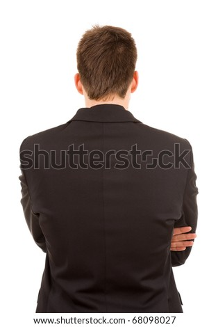 Young business man from back, isolated on white