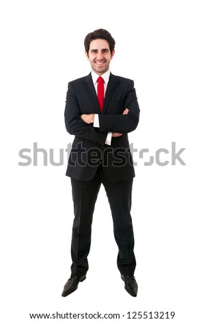 young business man full body isolated on white background